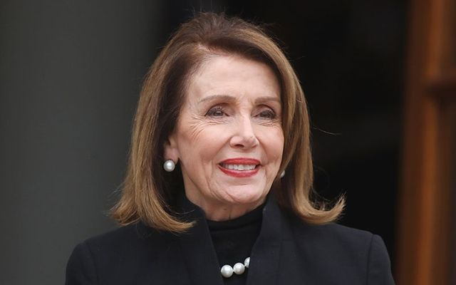US House Speaker Nancy Pelosi photographed outside Ireland\'s Government buildings.