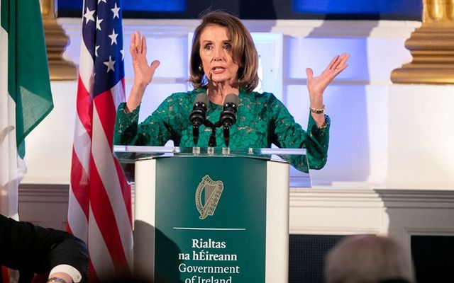US House Speaker Nancy Pelosi speaking at Dublin Castle during her trip to Dublin.