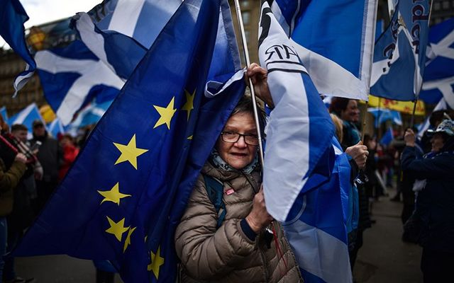 A pro-Europe pro-Scottish independence protester at a recent rally.