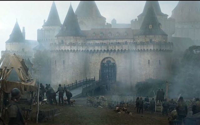 A still from the second seige of Riverrun, aka Gosford Castle, in Northern Ireland, from HBO\'s Game of Thrones.