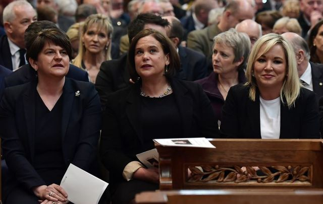 Arlene Foster, Mary Lou McDonald, and Michelle O\'Neill at Lyra McKee\'s funeral on April 24 in Belfast