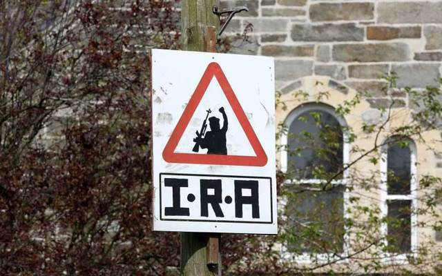An Irish Republican Army (IRA) sniper warning sign over-looking the Bogside area of Derry in Northern Ireland.