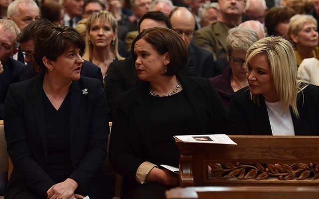 DUP leader Arlene Foster, and Sinn Fein leaders Mary Lou McDonald and Michelle O'Neill at Lyra McKee's funeral.