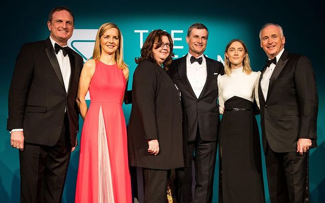 Kyle Clifford, Vice President of Development of The Ireland Funds America; Caitriona Fottrell, The Ireland Funds Vice President and Director, Ireland; Honoree Eileen K. Murray, Co-CEO of Bridgewater Associates LP; Honoree Ronan Dunne, Executive Vice President & President of Verizon Consumer Group; Honoree Saoirse Ronan, Academy Award Nominated Actor; and John Fitzpatrick, Chairman of The Ireland Funds America; at The Ireland Funds 44th Annual New York Gala on May 02, 2019 in New York City.