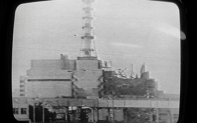 TV footage of the Chernobyl disaster 33 years ago.
