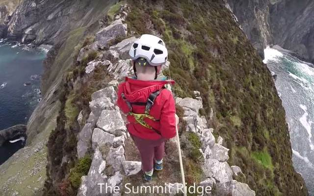 Luke Miller, 5, walks along the terrifying summit ridge of The Sturrall in Co. Donegal.
