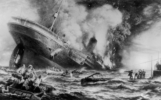 A painting illustrating the tragic sinking of the Lusitania, by a German U-Boat, when 1,201 people died.