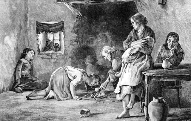 A newspaper sketch of a family suffering during the Irish Famine.