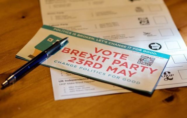 A political campaign leaflet for \'The Brexit Party\' for the European Parliament elections which are scheduled to take place in Britain on May 23rd.
