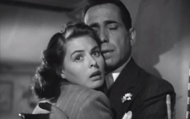 Ingrid Bergman and Humphrey Bogart in Casablanca.
