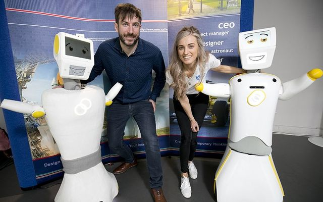 Trinity College Dublin: Dr Conor McGinn, Stevie I, a member of the engineering team behind the creation and the new Stevie II.