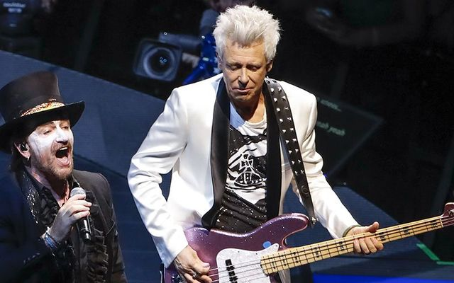 U2\'s Bono and Adam Clayton on stage in Chicago, in 2018.