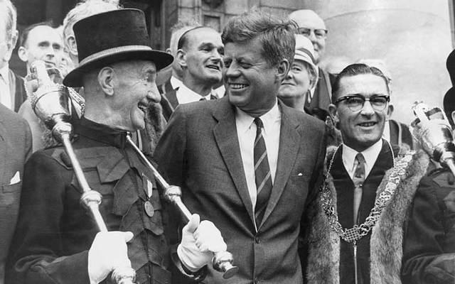 President John F Kennedy with Dublin\'s macebearer Jim Buckley (left) during a visit to Dublin in June 1963.