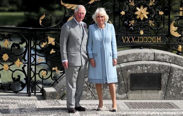 Prince Charles and Camilla, Duchess of Cornwall, at the Powerscourt House and Gardens.