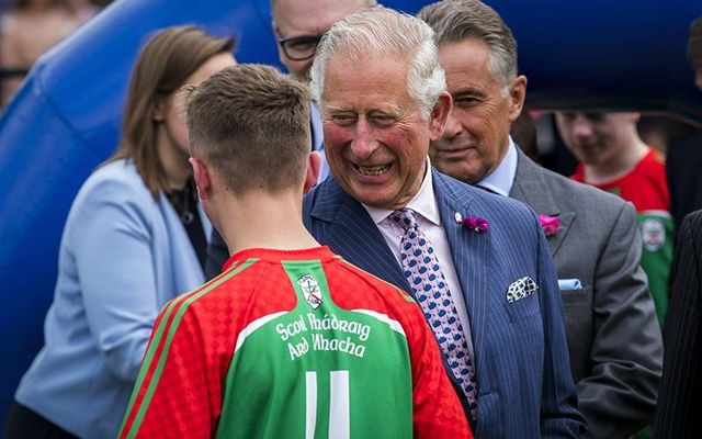 Prince Charles meeting young GAA players in Northern Ireland.