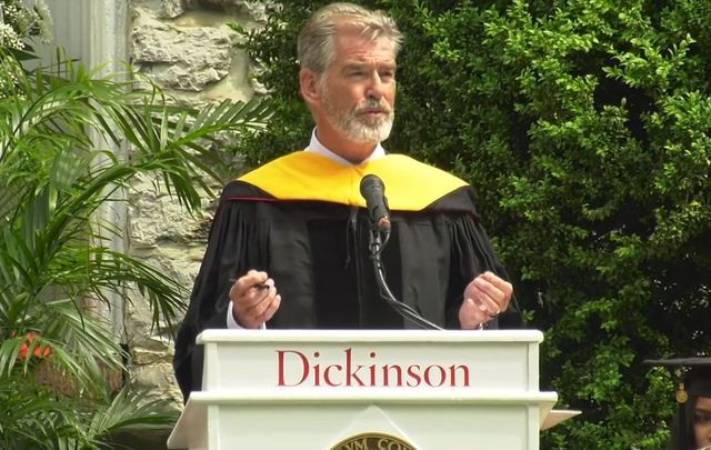 Pierce Brosnan giving the commencement speech at Penn University.