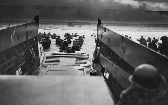 A view from the boats of the beaches on D-Day, during World War II.