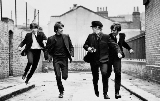 A still of the Beatles in Hard Days Night, the movies.