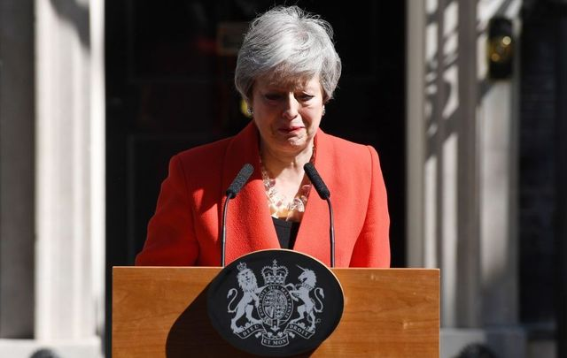 Prime Minister Theresa May makes a statement outside 10 Downing Street on May 24, 2019, in London, England. The prime minister has announced that she will resign on Friday, June 7, 2019.