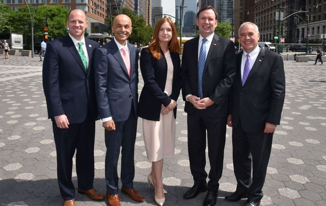 Senator Tim Kennedy, Buffalo, Rajesh Rana, Andras House and Belfast Chamber of Commerce, Jayne Brady, Partner, Kernel Capital, Rep. Mike Cusick, Staten Island and Tom DiNapoli, Comptroller, New York State, pictured at NYNB 2018.