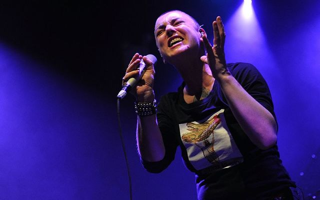 Sinead O\'Connor performing at the Highline Ballroom in New York City, in 2012.