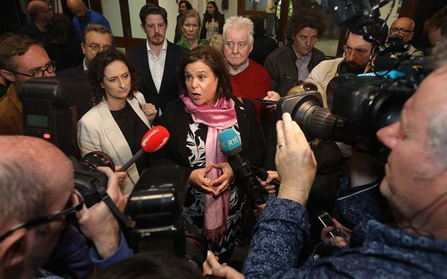 Sinn Fein European candidate Lynn Boylan and Sinn Fein President Mary Lou MacDonald speaking to the press at the RDS during the election count.