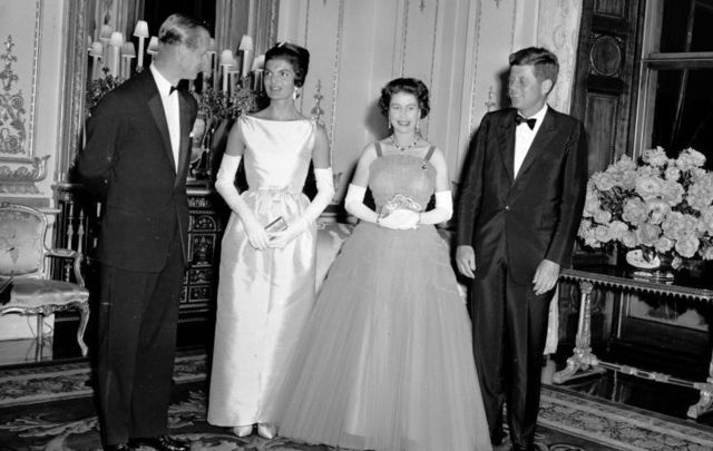 The Kennedys meeting the royals on June 5, 1961, at Buckingham Palace.