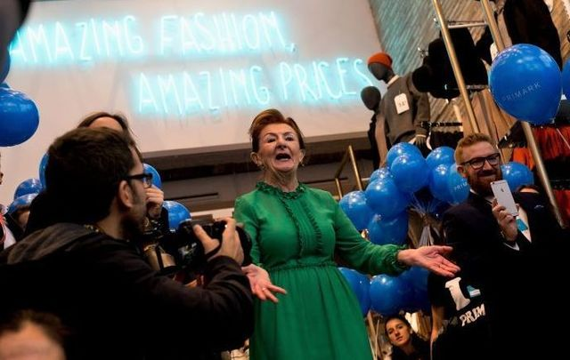 Irish woman Breege O\'Donoghue helps open a new Primark in Madrid in 2017
