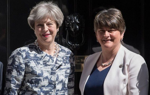 British PM Theresa May and DUP leader Arlene Foster.
