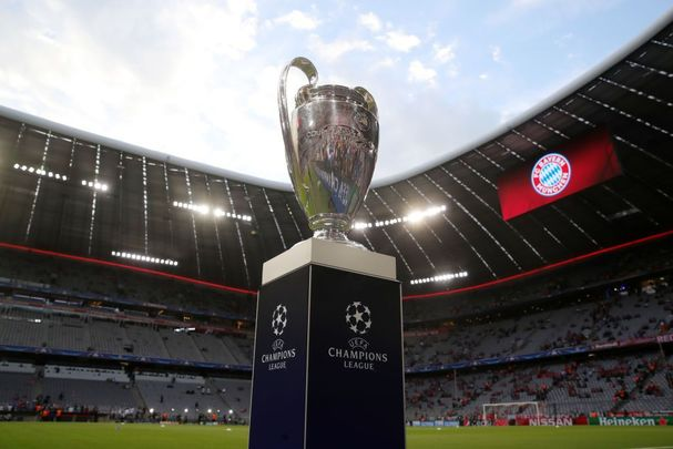 The Champions League trophy is pictured during the UEFA Champions League Semi Final First Leg match between Bayern Muenchen and Real Madrid at the Allianz Arena on April 25, 2018, in Munich, Germany.