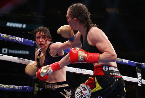Katie Taylor fighting in Madison Square Garden.