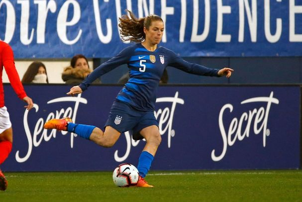 Kelley O\'Hara #5 of the USA plays in the 2019 SheBelieves Cup match between USA and England at Nissan Stadium on March 2, 2019, in Nashville, Tennessee.