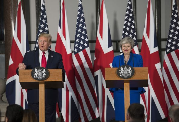 President Donald Trump and outgoing British Prime Minister Theresa May