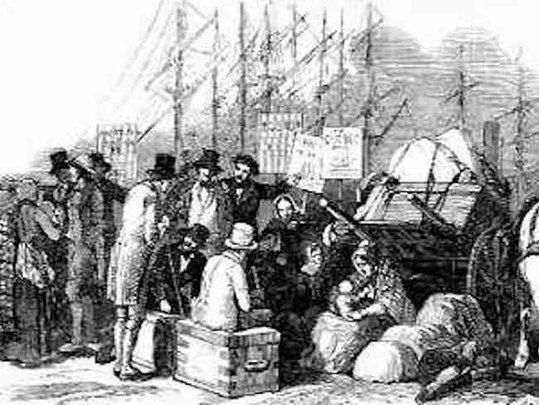 Illustration showing Irish ready to board a ship.