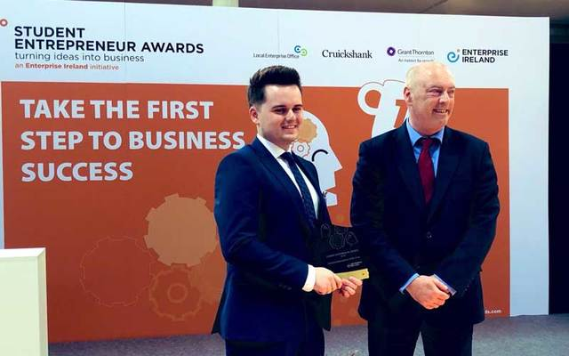 Christopher McBrearty, the winner of the Enterprise Ireland's Student Entrepreneur of the Year Award.