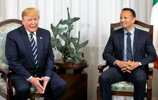 President Trump and Taoiseach Varadkar speaking at Shannon Airport.