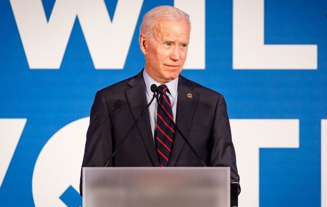 Former vice president and 2020 Democratic presidential candidate Joe Biden speaks to a crowd at a Democratic National Committee event at Flourish in Atlanta on June 6, 2019, in Atlanta, Georgia. The DNC held a gala to raise money for the DNC\'s IWillVote program, which is aimed at registering voters.