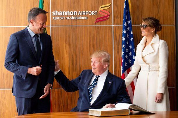 Leo Varadkar, Donald Trump and Melania at Shannon Airport.
