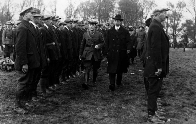 Eamon de Valera inspecting the Western Division of the Irish Republican Army at Six Mile Bridge in Co Clare in 1921.