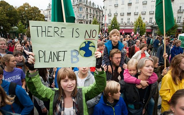 A young European protesting inaction on climate change.