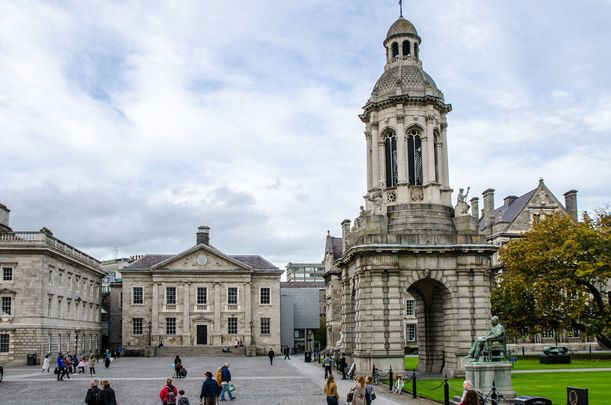 Students on the campus of Trinity College Dublin