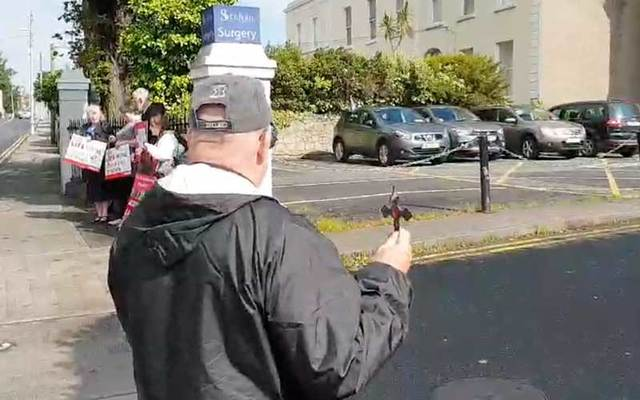 Fr Stephen Imbarrato performing an exorcism outside an abortion facility in Ireland.