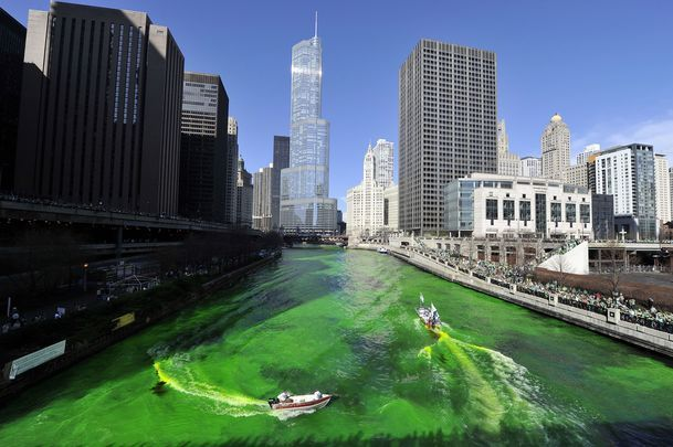The Chicago River dyed green for St. Patrick\'s Day.