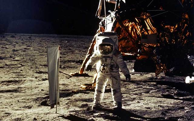 Edwin Aldrin Jr., photographed by Astronaut Neil Armstrong, during the 1969 Apollo 11 mission, man\'s first landing on the Moon.