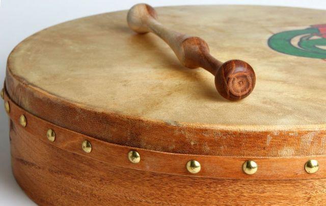The bodhrán is a traditional goatskin Irish drum.