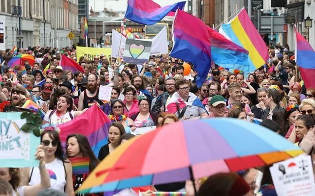 Crowds filled the street for Dublin\'s Pride parade.