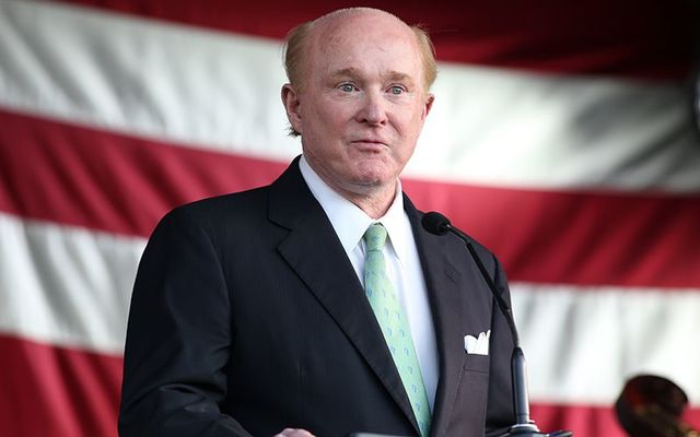 United States Ambassador to Ireland Edward Crawford addresses the crowds at his July 4th party, at his residence in the Phoenix Park, Dublin.