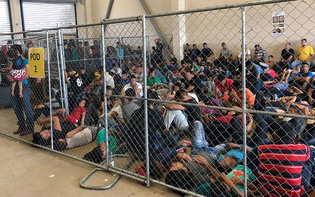 "Men and young children share the same ""pod\"" at a detention center with hardly enough room to stand and no amenities."