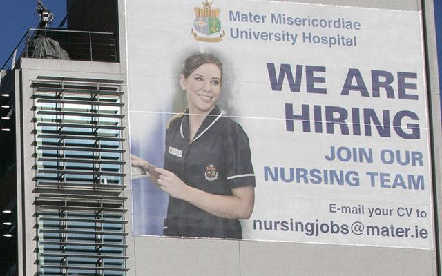 A poster advertising nursing jobs in Dublin.