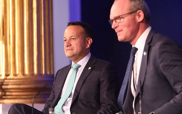 Ireland\'s leader, An Taoiseach Leo Varadkar on stage at the Global Ireland 2025 summit, at Dublin Castle.